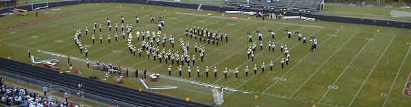 Marching Band on the field in formation